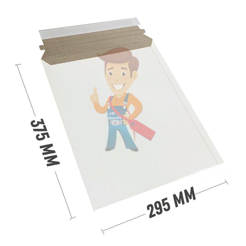 Курьер-пакет 295x375 мм из белого картона 390 гр./м2