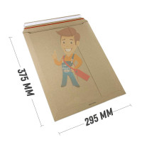 Курьер-пакет В4 250х353 мм из бурого картона 400 гр./м2 - Курьер-пакет 295x375 мм из бурого картона 400 г/м2
