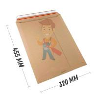 Курьерский почтовый пакет с клеевым клапаном Forceberg HOME & DIY 300х400+40 мм, с карманом, 20 шт - Курьер-пакет С3 320х455 мм из бурого картона 440 гр./м2