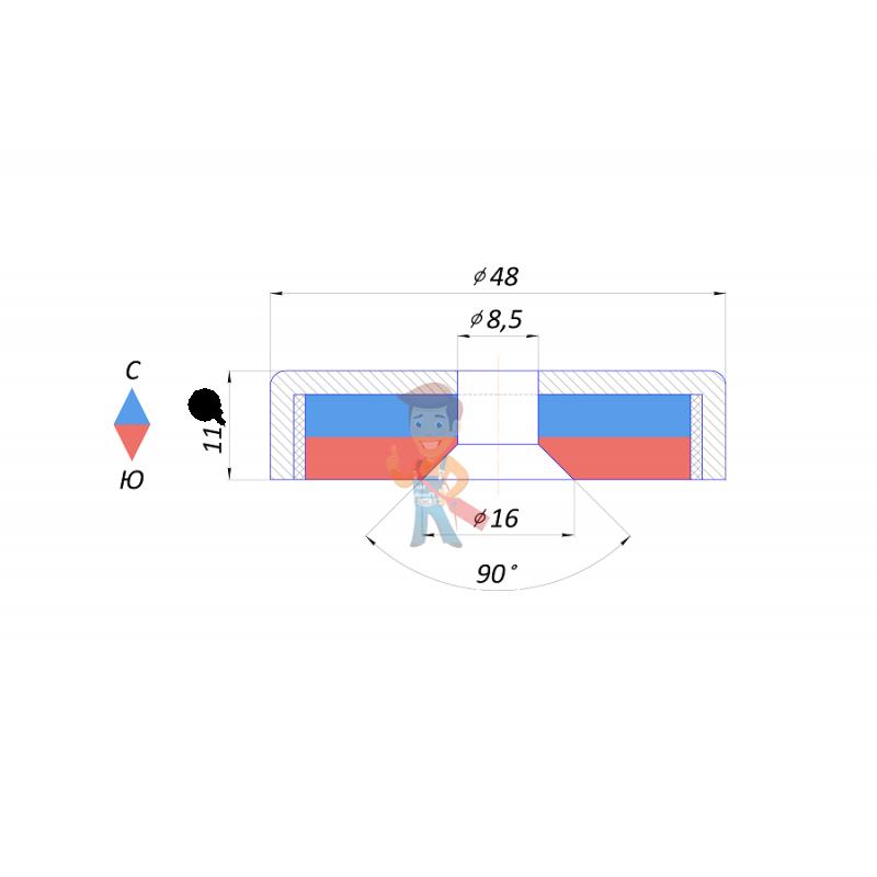 Магнитное крепление с отверстием А48 - фото 2