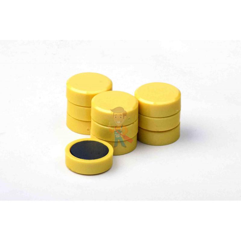 Магнит для магнитной доски FORCEBERG 20 мм, желтый, 10шт. - фото 2