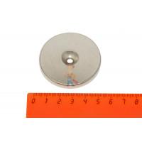Магнитная застежка 15х2 мм с ПВХ - Неодимовый магнит диск 50х5 мм с зенковкой 5/13 мм