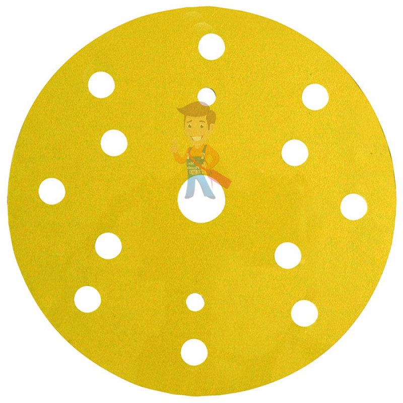 Круг Абразивный, золотой, 15 отверстий, Р120, 150 мм,3M™ Hookit™ 255P+, 10 шт/уп - фото 1