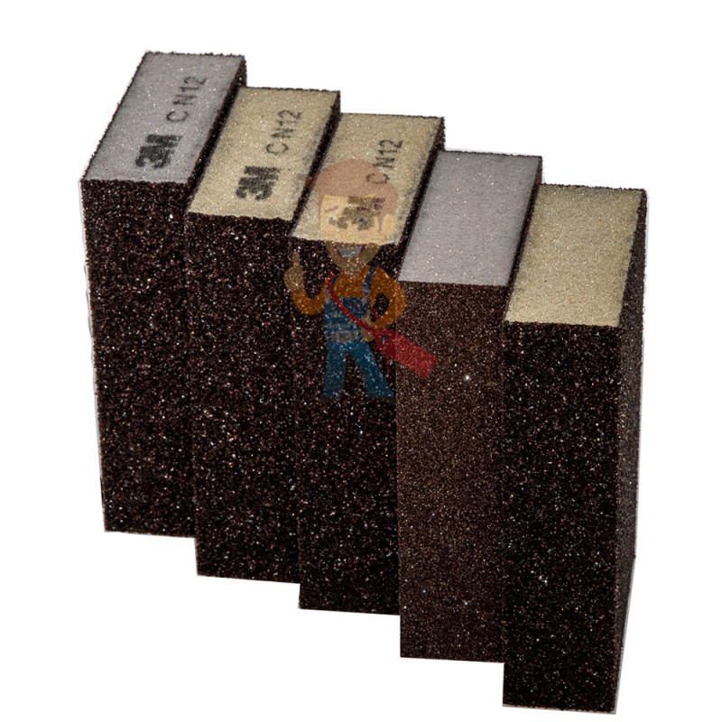 Губка Четырехсторонняя, CRS, жесткая, 96 мм х 66 мм х 25 мм, 5 шт./уп. - фото 1