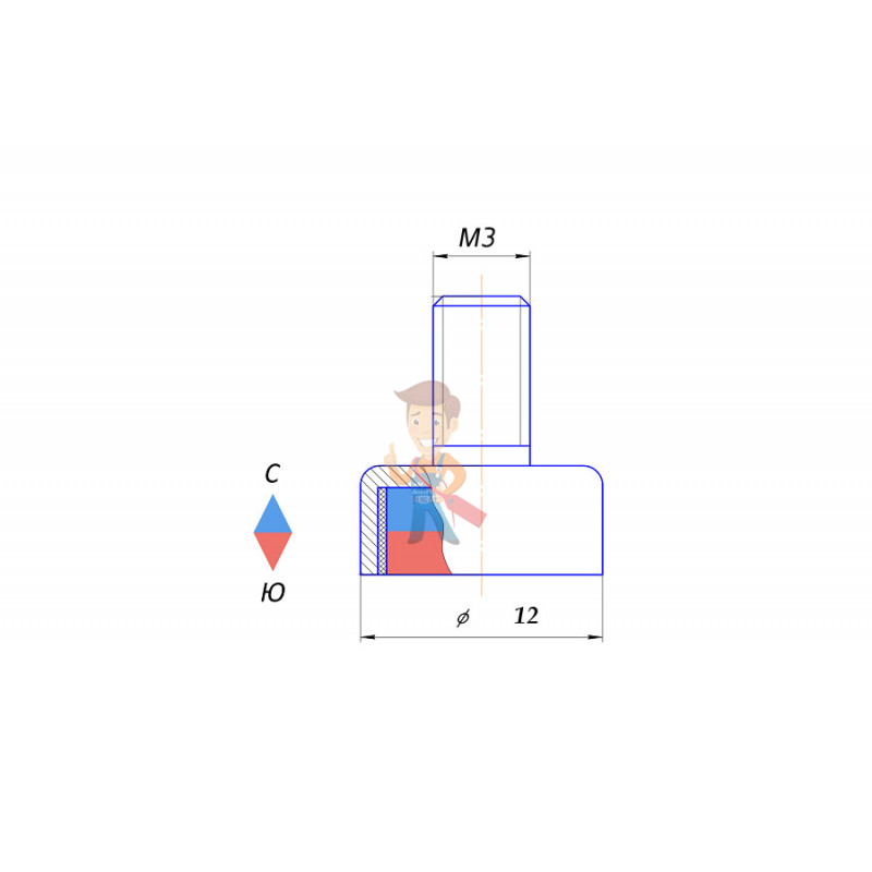 Магнитное крепление с винтом С12 (М3) - фото 5