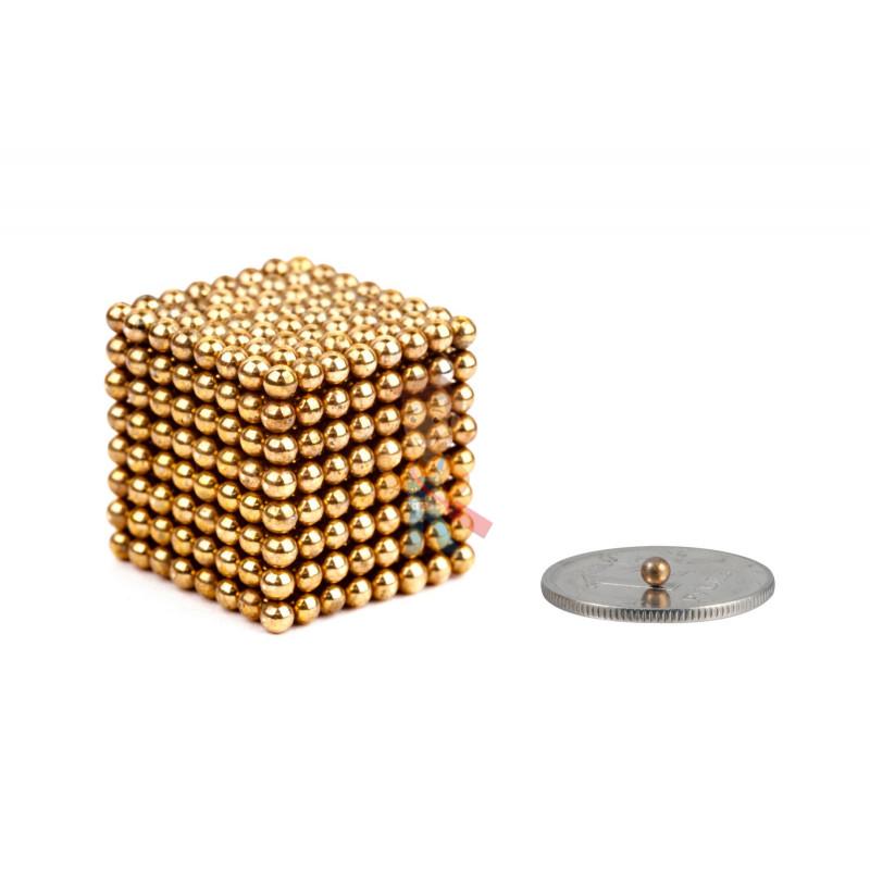 Forceberg Cube - куб из магнитных шариков 2,5 мм, золотой, 512 элементов - фото 1