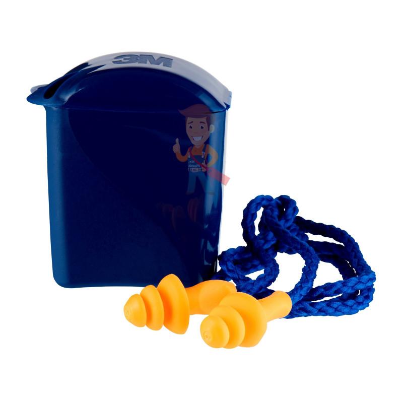 Вкладыши противошумные 3М™ многоразовые со шнурком в пластиковом контейнере, 1 пара/уп. - фото 1