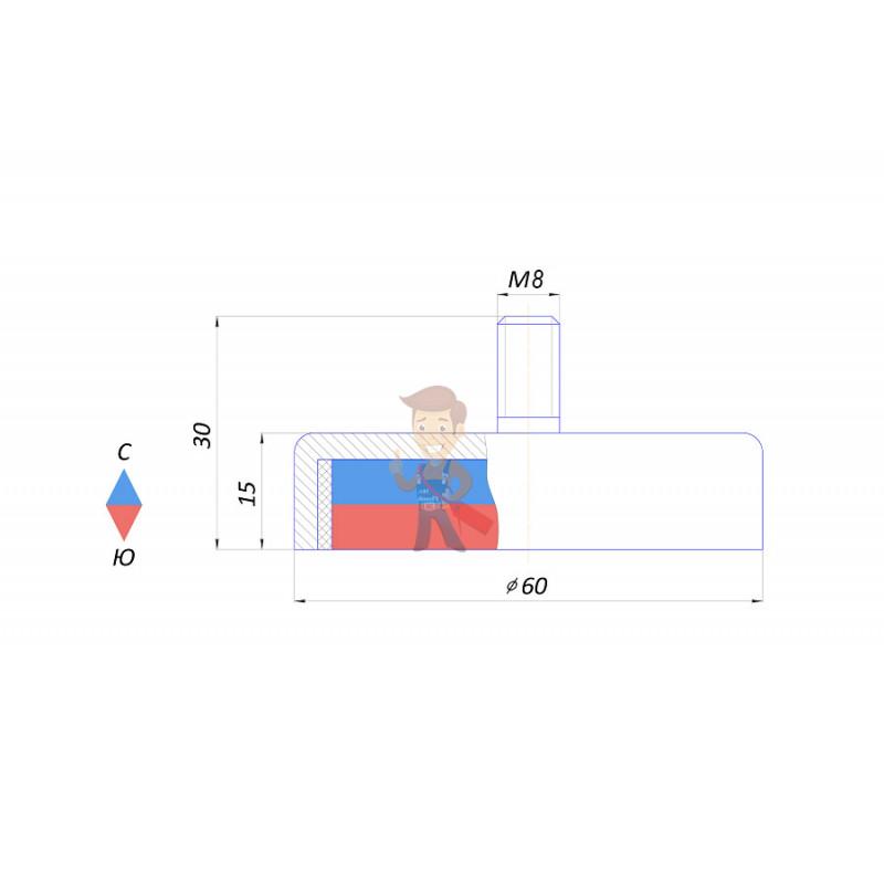 Магнитное крепление с винтом С60 (М8) - фото 2