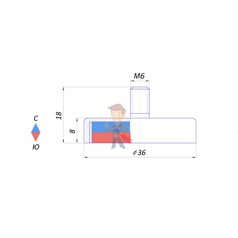 Магнитное крепление с винтом С36 (М6) - фото 2