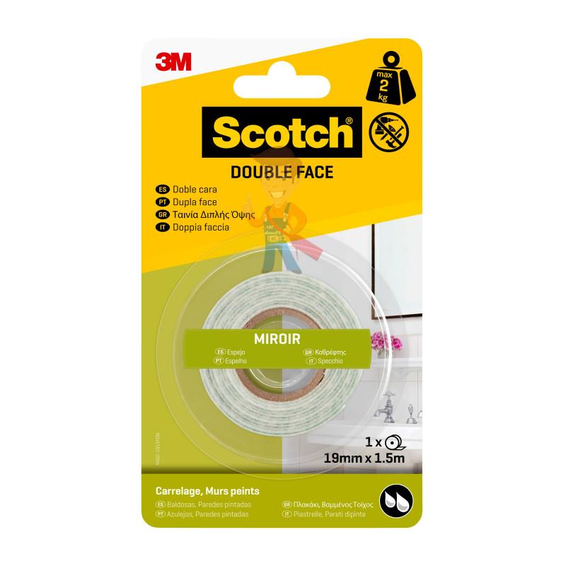 Лента клейкая монтажная влагостойкая для зеркал Scotch 4492-1915FGN, 19мм х 1,5м
