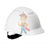 Каска защитная с вентиляцией, стандартное оголовье, белая - Каска защитная с вентиляцией, стандартное оголовье, белая