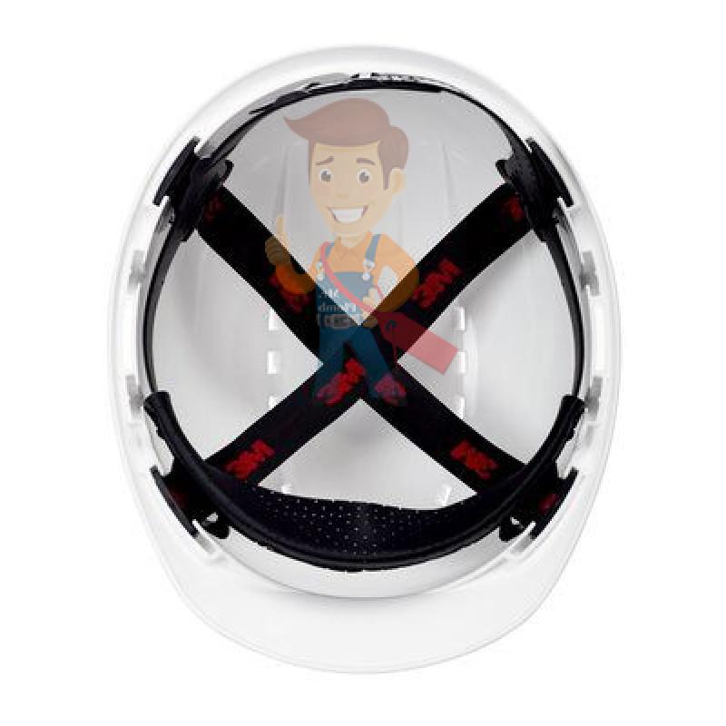 Каска защитная с вентиляцией, стандартное оголовье, белая - фото 2