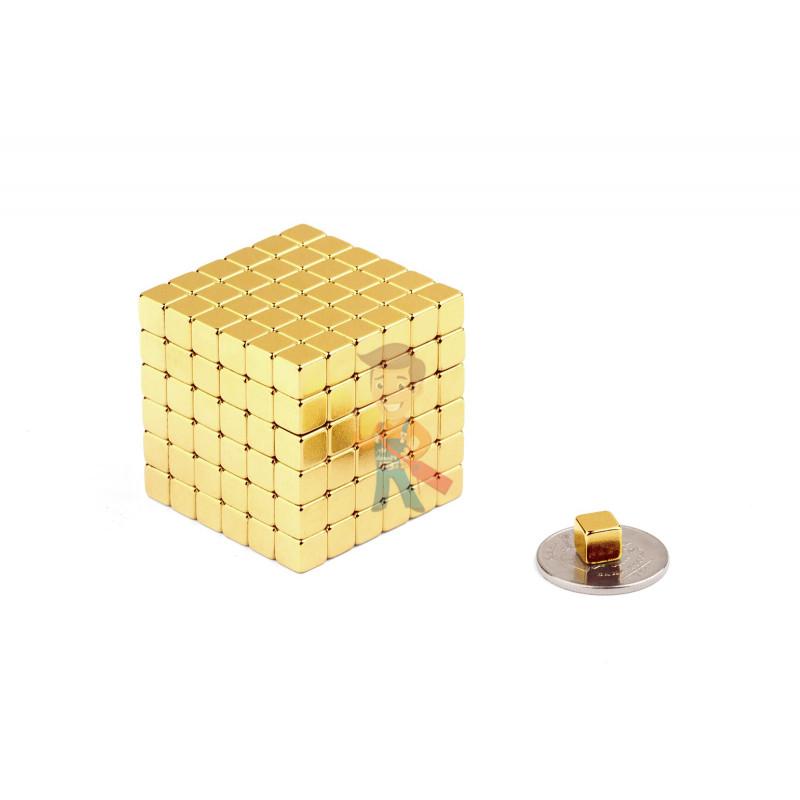 Forceberg TetraCube - куб из магнитных кубиков 6 мм, золотой, 216 элементов - фото 2