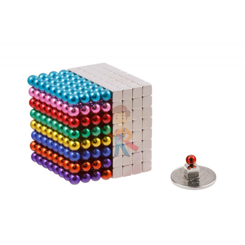 Forceberg Cube - куб из магнитных шариков и кубиков 5 мм, цветной/стальной, 512 элементов - фото 2