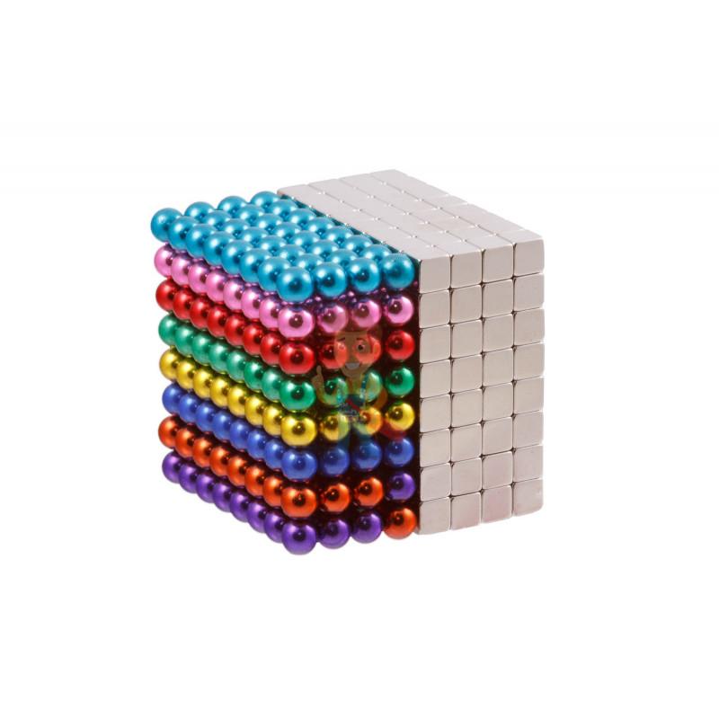 Forceberg Cube - куб из магнитных шариков и кубиков 5 мм, цветной/стальной, 512 элементов - фото 1