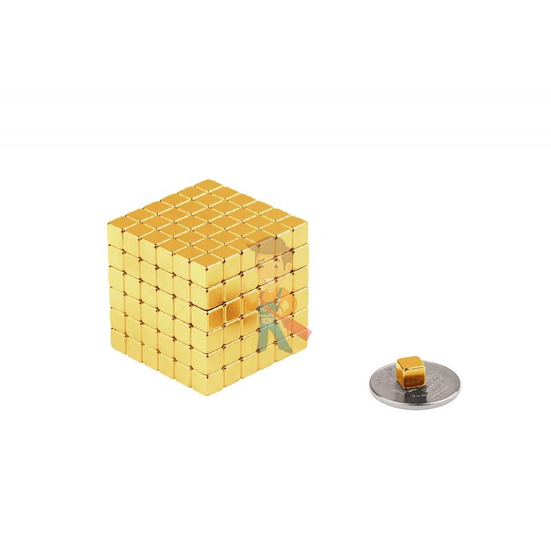 Forceberg TetraCube - куб из магнитных кубиков 4 мм, золотой, 216 элементов - фото 2