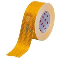 Лента светоотражающая 3M 983-10, алмазного типа, белая, 53,5 мм х 5 м - Пленка световозвращающая микропризматическая жёлтая, размер рулона 55 мм х 50 м