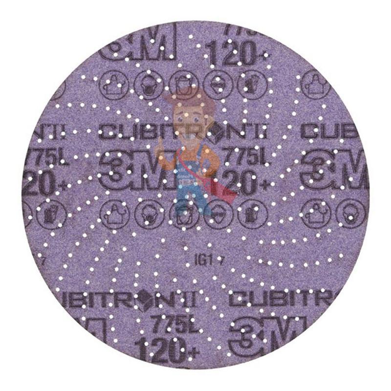 Круг Шлифовальный, 120+, 125 мм, Клин Сэндинг, 3M Cubitron II Hookit 775L  10 шт./уп. - фото 1