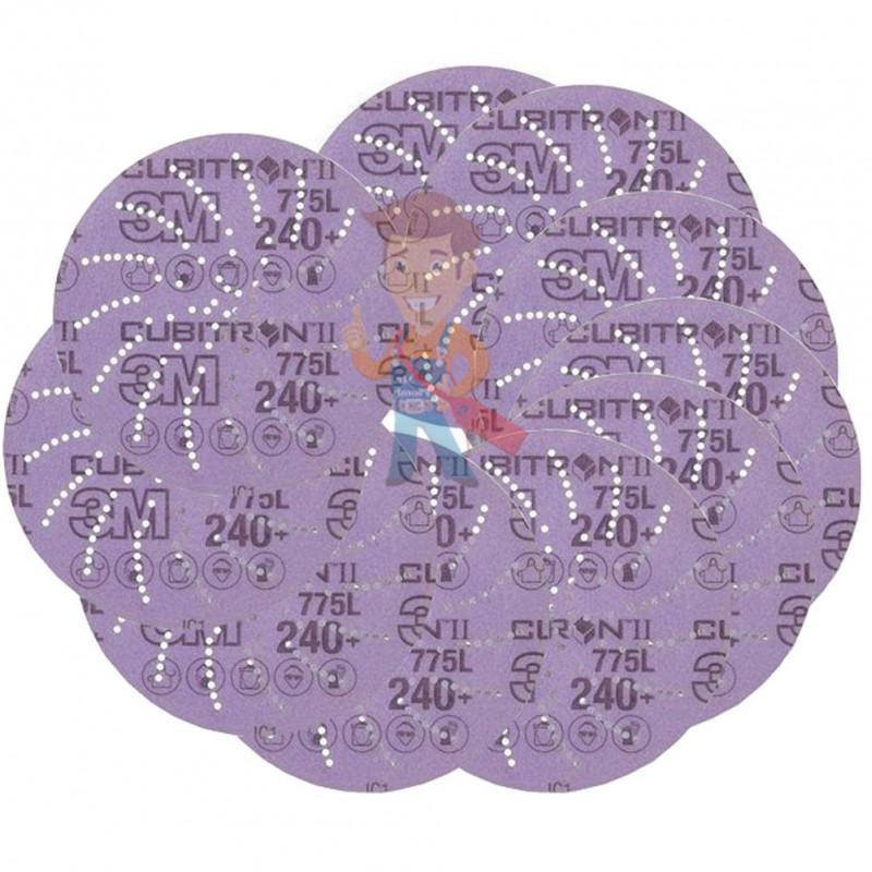Круг Шлифовальный, 240+, 125 мм, Клин Сэндинг, 3M Cubitron II Hookit 775L 10 шт./уп. - фото 2