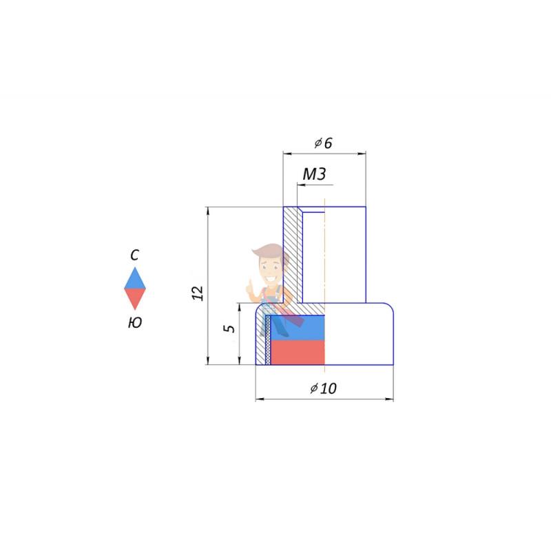 Магнитное крепление под болт К-10 (М3) - фото 3