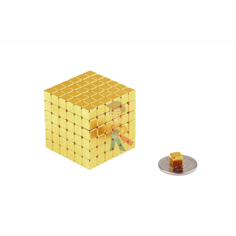 Forceberg TetraCube - куб из магнитных кубиков 5 мм, золотой, 216 элементов - фото 2