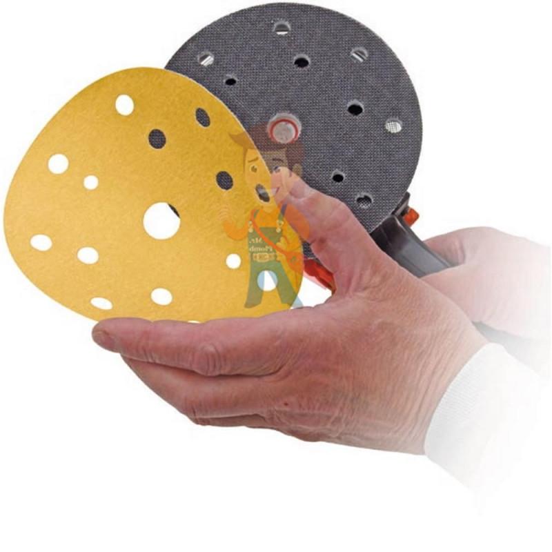 Круг Абразивный, золотой, 15 отверстий, Р360, 150 мм,3M Hookit 255P+ 10 шт/уп. - фото 1