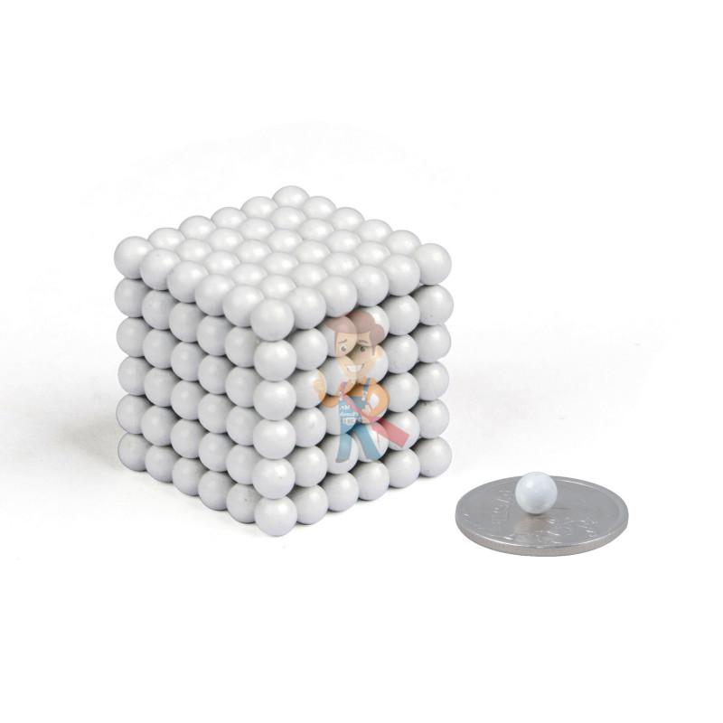Forceberg Cube - куб из магнитных шариков 5 мм, белый, 216 элементов - фото 1