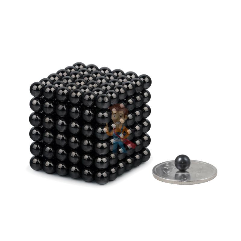 Forceberg Cube - куб из магнитных шариков 5 мм, черный, 216 элементов - фото 1