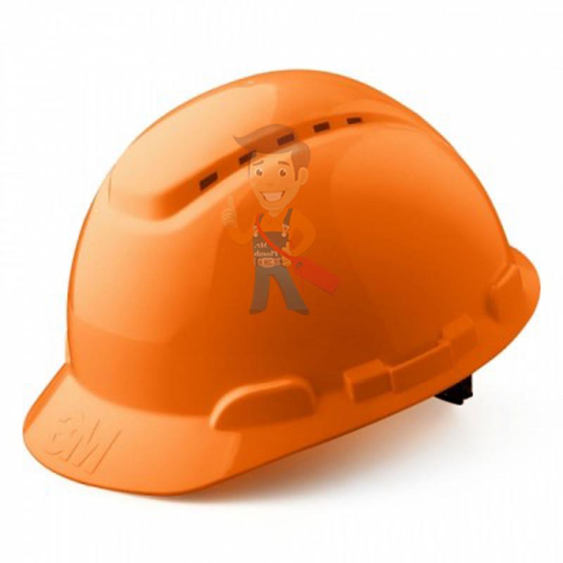 Каска защитная с вентиляцией, стандартное оголовье, оранжевая - фото 4