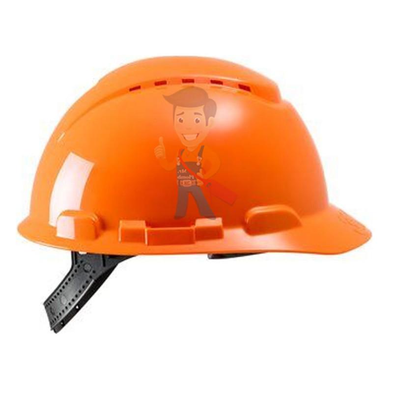 Каска защитная с вентиляцией, стандартное оголовье, оранжевая - фото 2