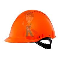 Каска защитная с вентиляцией, стандартное оголовье, белая - Каска защитная c вентиляцией, стандартное оголовье, УФ индикатор, оранжевая