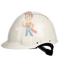 Каска защитная с вентиляцией, стандартное оголовье, белая - Каска защитная c вентиляцией, стандартное оголовье, УФ индикатор, белая