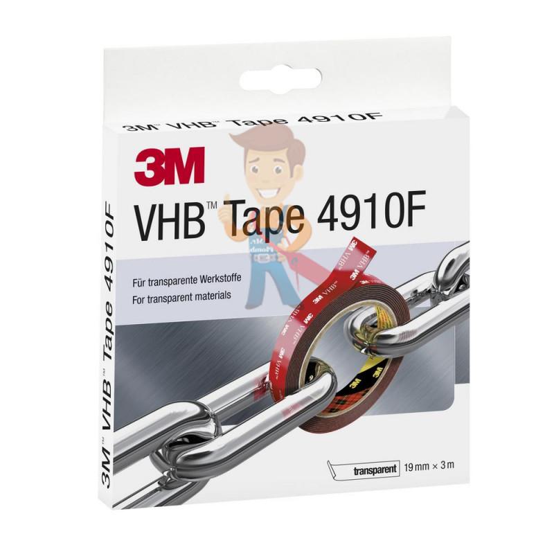 Клейкая лента универсальная 3М VHB 4910F, двусторонняя, прозрачная, 19 мм x 3 м - фото 1