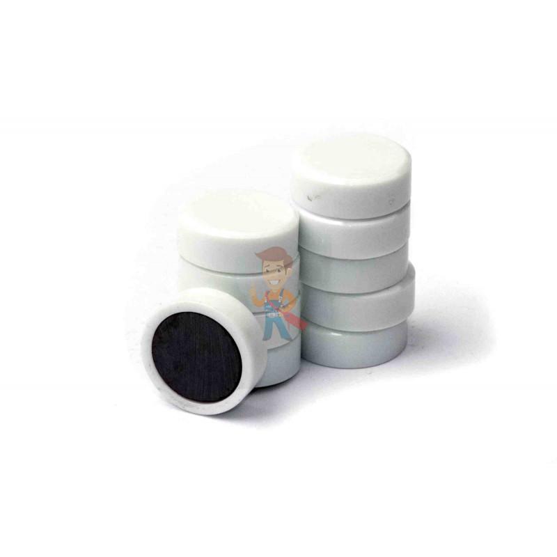 Магнит для магнитной доски FORCEBERG 20 мм, белый, 10шт. - фото 2