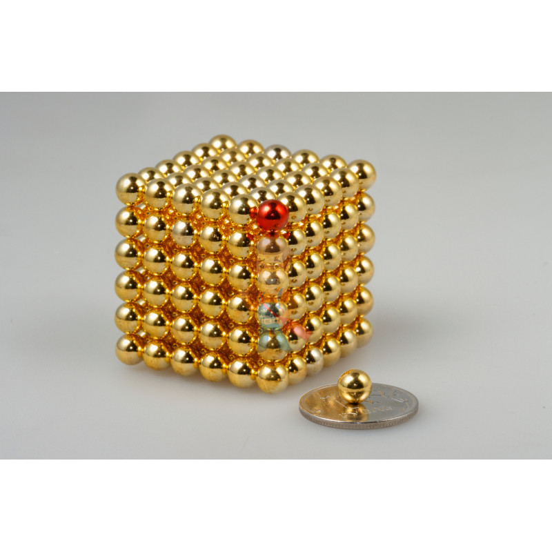 Forceberg Cube - куб из магнитных шариков 6 мм, золотой, 216 элементов - фото 1
