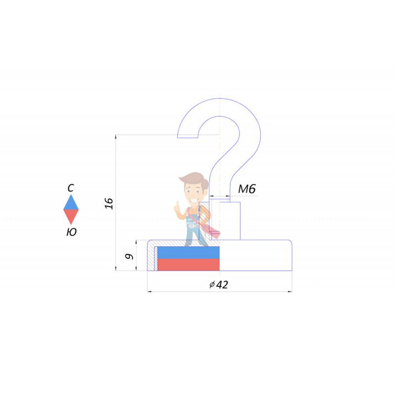 Магнитное крепление с крючком Е42 (М6) - фото 2
