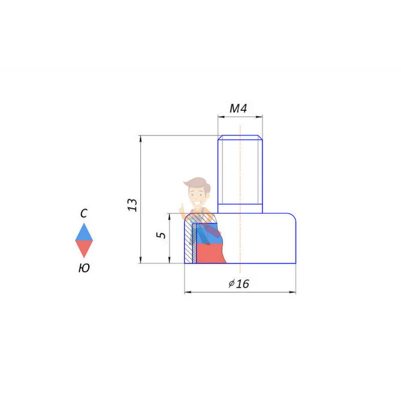 Магнитное крепление с винтом С16 (М4) - фото 3