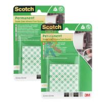 Лента клейкая монтажная влагостойкая для зеркал Scotch 4492-1915FGN, 19мм х 1,5м - Квадраты монтажные двусторонние клейкие Scotch, 16 шт./упак. 2 упак/набор.