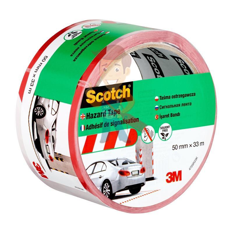 Лента cигнальная Scotch 4705, бело-красная, 50 мм х 33 м х 0.15 мм